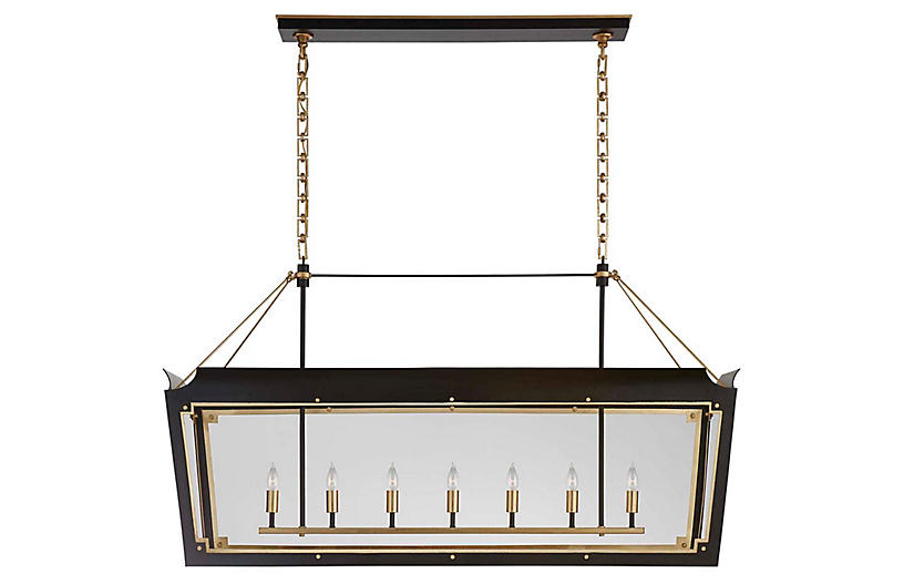 Caddo Linear Lantern, Matte Black With Gild
