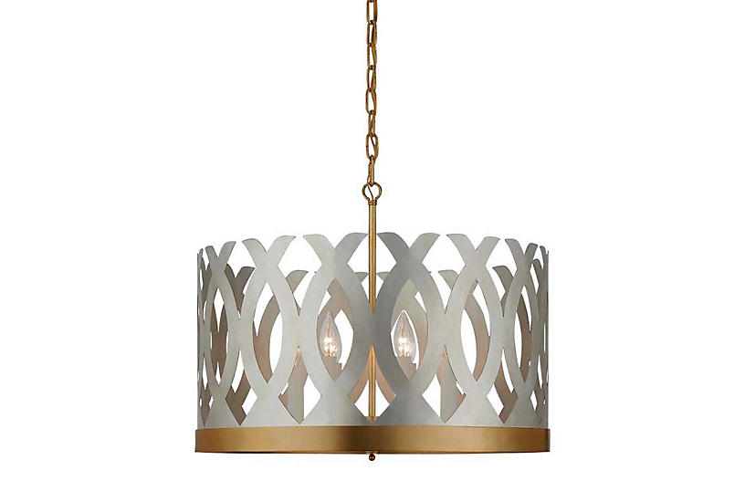 Ingrid Chandelier, Burnished Silver Leaf