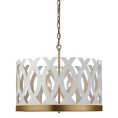 Ingrid Chandelier, Matte White/Gold