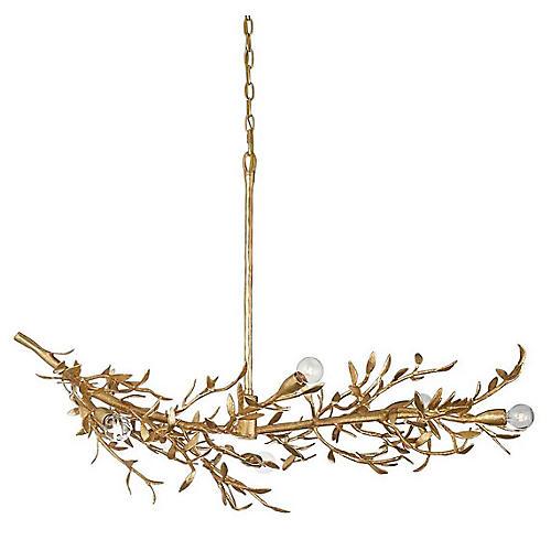 Mandeville Linear Chandelier, Antiqued Gold Leaf
