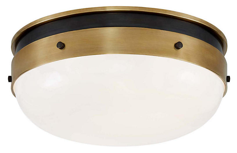 Hicks Flush Mount, Bronze/Antiqued Brass