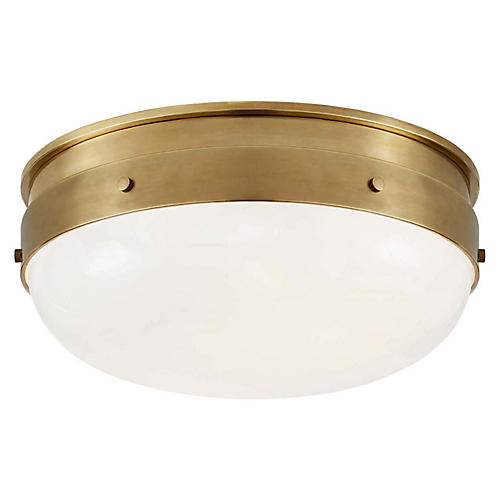 Hicks Flush Mount, Hand-Rubbed Antiqued Brass