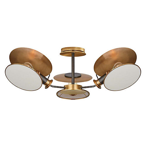 Osiris Semi-Flush Mount, Bronze/Antiqued Brass