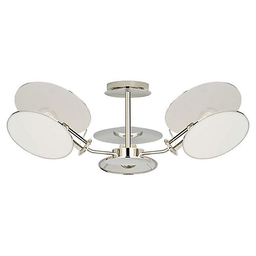 Osiris Semi-Flush Mount, Polished Nickel