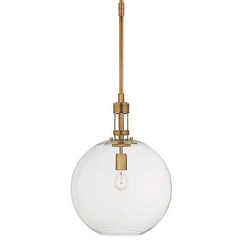 Gable Globe Pendant, Hand-Rubbed Antiqued Brass