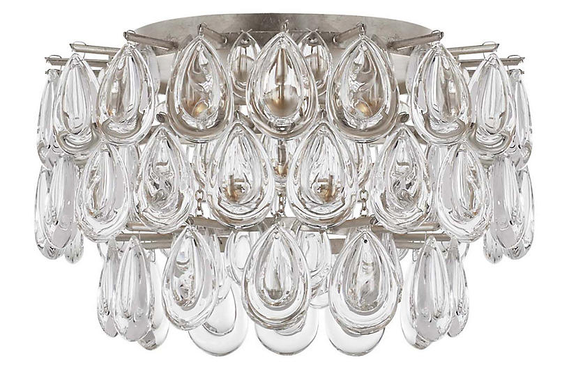 Liscia Flush Mount, Burnished Silver Leaf
