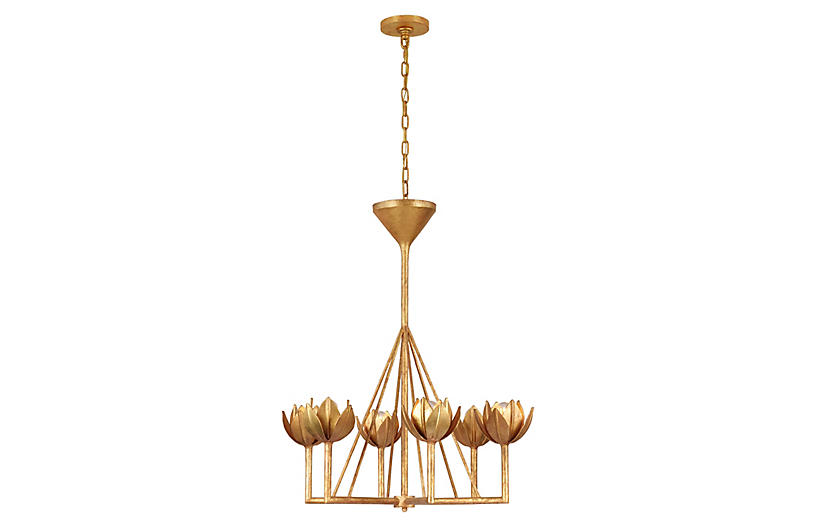 Alberto Chandelier, Antiqued Gold Leaf