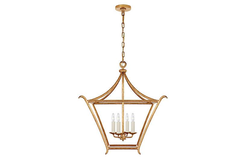 Aria Square Lantern, Antiqued Gold Leaf