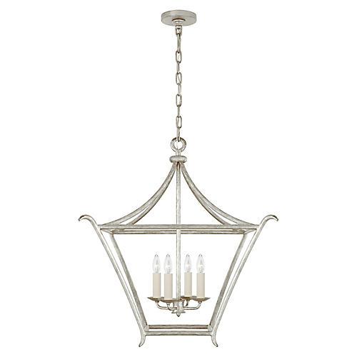 Aria Square Lantern, Silver Leaf