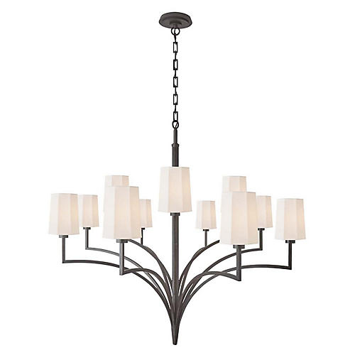 Pietro Two-Tier Chandelier, Aged Iron