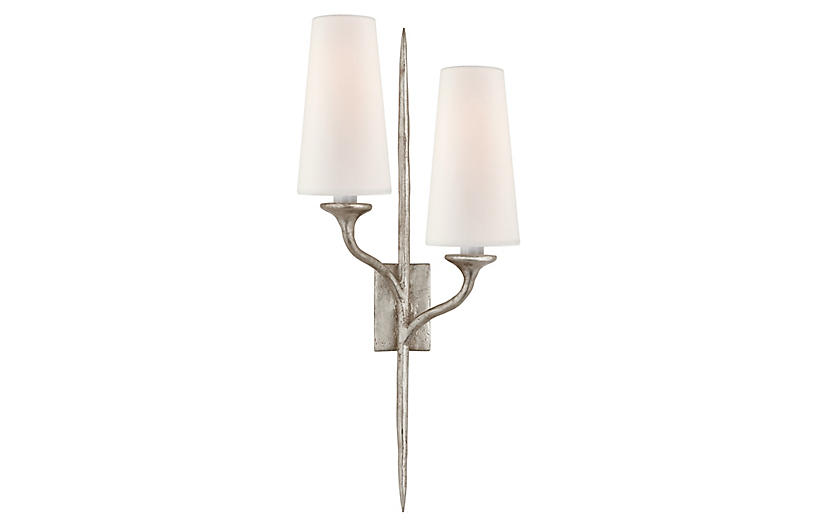 Iberia Sconce, Burnished Silver Leaf