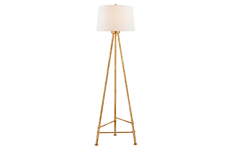 Lafitte Floor Lamp, Antique Gold Leaf