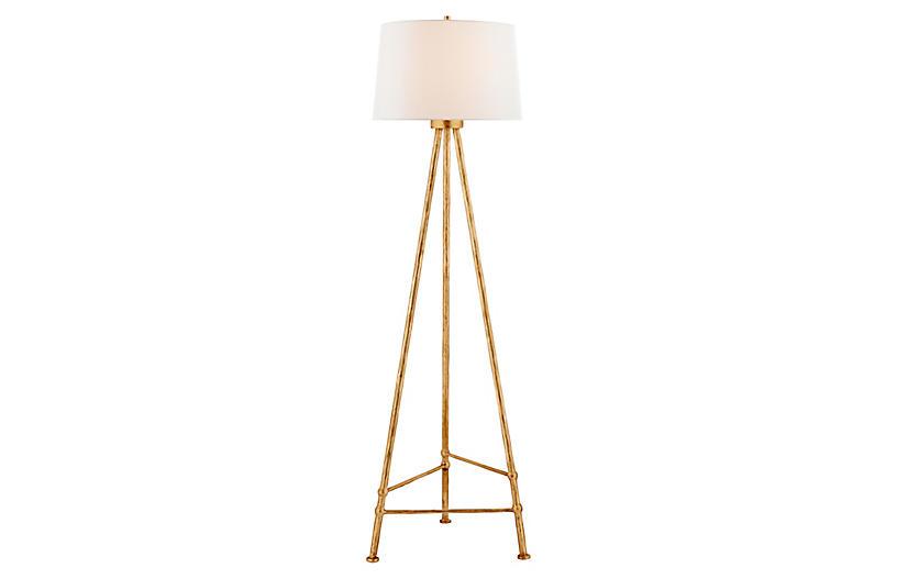 Lafitte Floor Lamp, Antique Gold Leaf