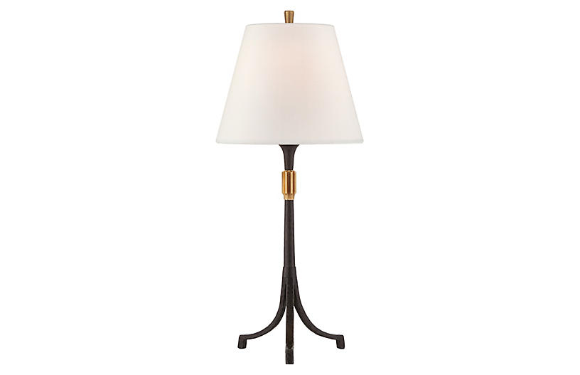 Arturo Table Lamp, Aged Iron/Brass