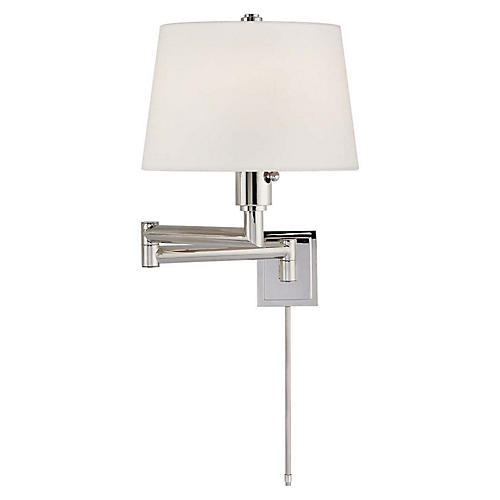 Chunky Swing-Arm Sconce, Polished Nickel