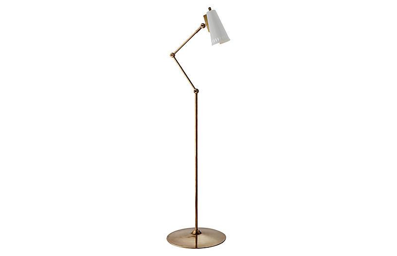 Antonio Articulating Floor Lamp, Brass/White