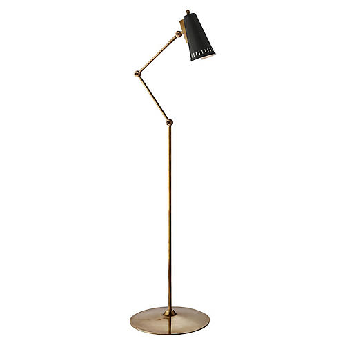 Antonio Articulating Floor Lamp, Brass/Black