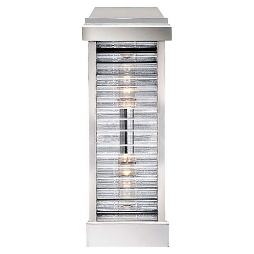 Dunmore Tall Outdoor Sconce, Polished Nickel