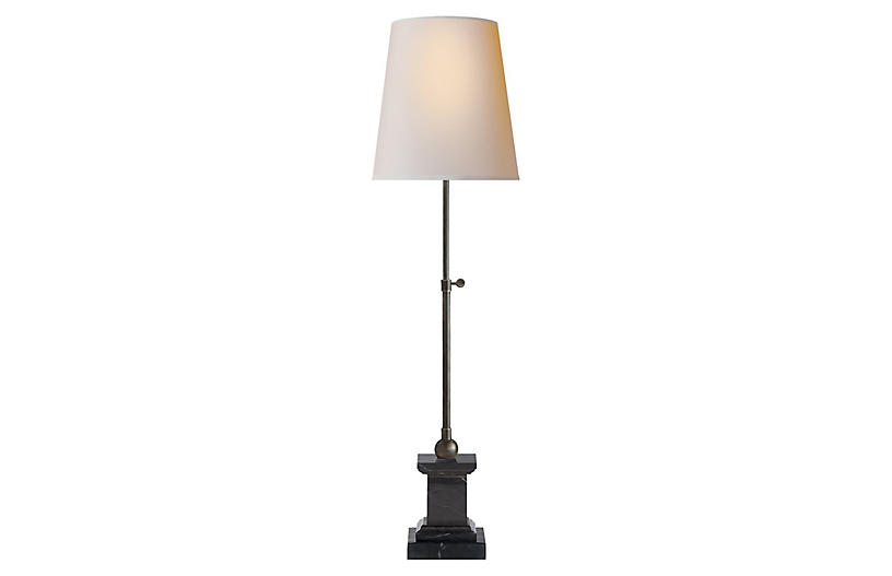 Brett Table Lamp, Black Marble/Bronze
