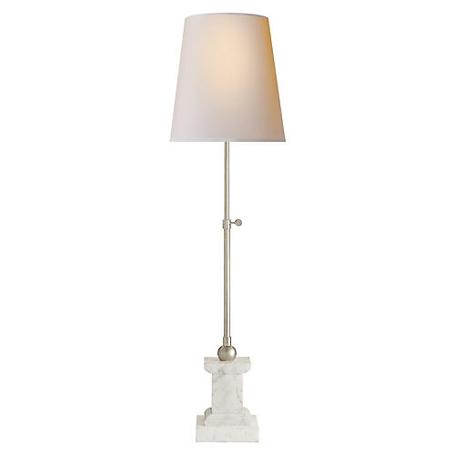 Brett Table Lamp, White Marble/Polished Nickel