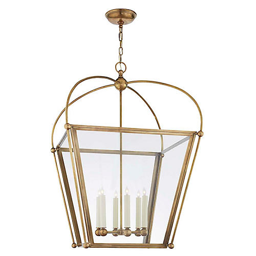 Plantation Large Lantern, Burnished Brass