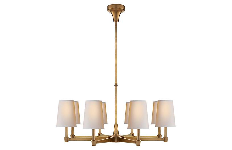 Caron Chandelier, Antiqued Brass