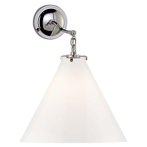 Katie Conical Sconce, Nickel/White