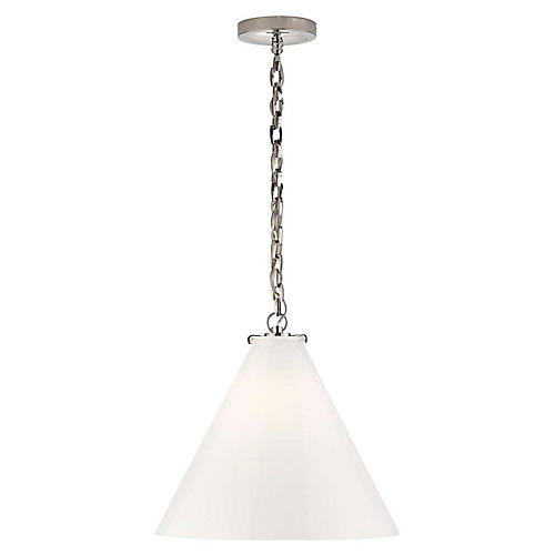 Katie Conical Pendant, Polished Nickel