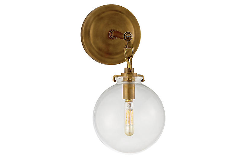Katie Globe Sconce Br Clear