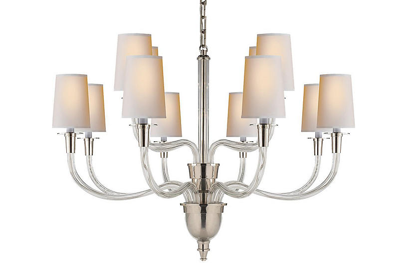 Vivian Chandelier, Polished Nickel