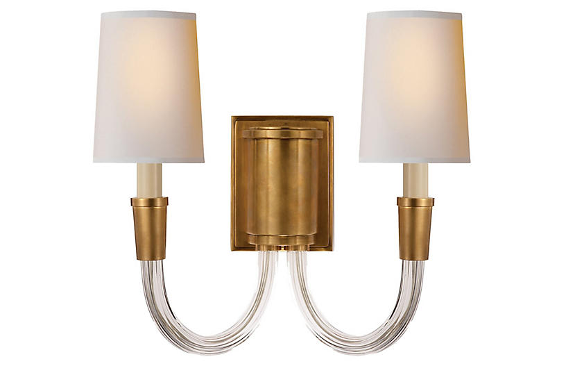 Vivian Double Sconce, Hand-Rubbed Brass
