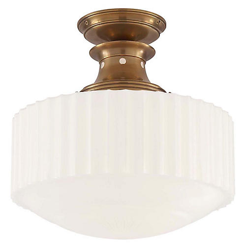 Milton Semi-Flush Mount, Antiqued Brass