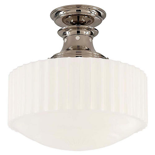 Milton Semi-Flush Mount, Polished Nickel
