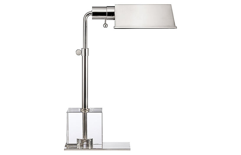Jennings Crystal Table Lamp, Nickel