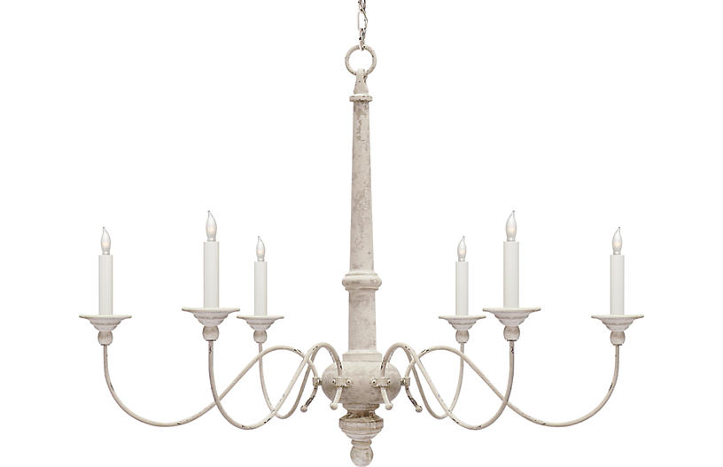 Country Small Chandelier, Belgian White