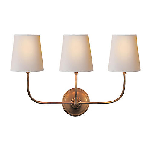 Vendome Triple Sconce, Antiqued Brass