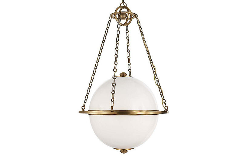 Modern Globe Pendant, Antiqued Brass