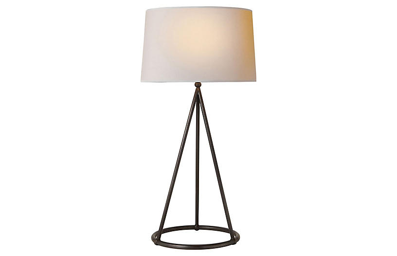Nina Tapered Table Lamp, Aged Iron