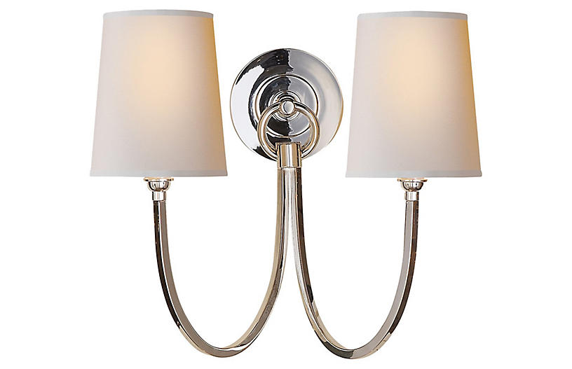 Reed Double Sconce, Polished Nickel