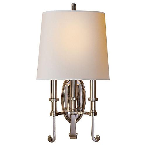 Calliope 3-Light Sconce, Polished Nickel