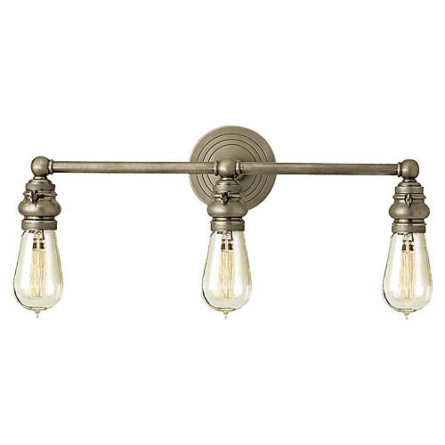 Boston 3-Light Bath Bar, Antiqued Nickel