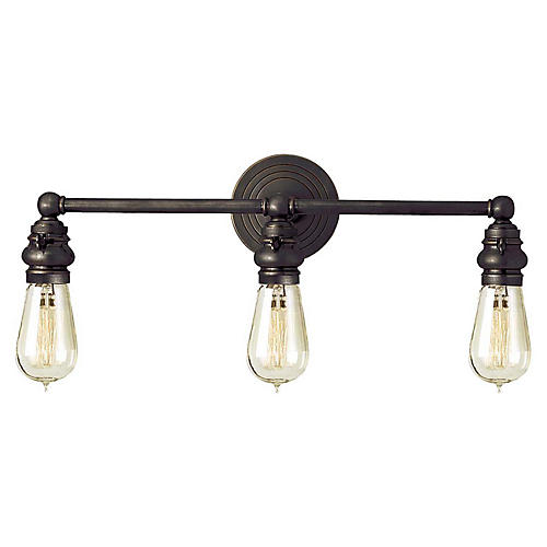 Boston 3-Light Bath Bar, Bronze