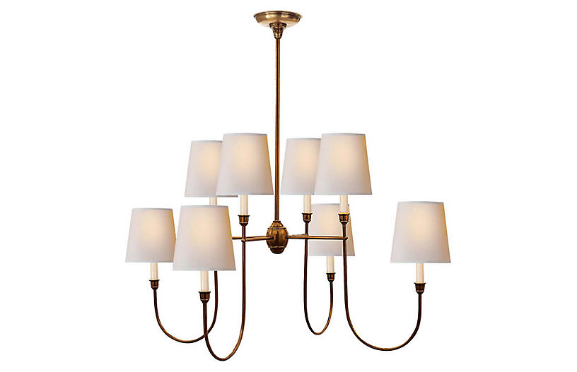 Vendome Chandelier, Hand-Rubbed Antiqued Brass