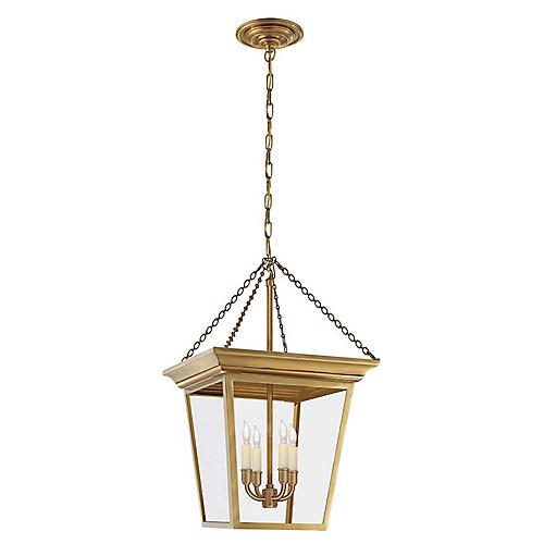 Cornice Small Lantern, Antiqued Brass
