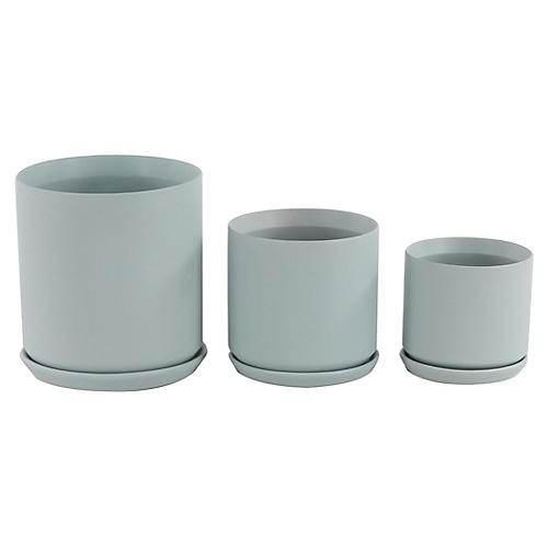 Asst. of 3 Wray Outdoor Planters, Blue-Gray
