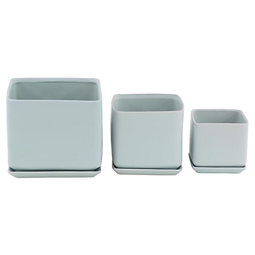 Asst. of 3 Thomsen Outdoor Planters, Blue-Gray