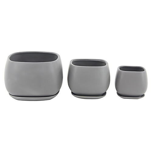 Asst. of 3 Dolores Outdoor Planters, Gray