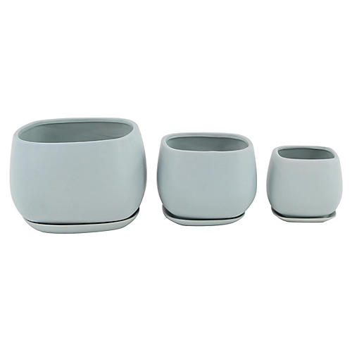 Asst. of 3 Dolores Outdoor Planters, Blue-Gray