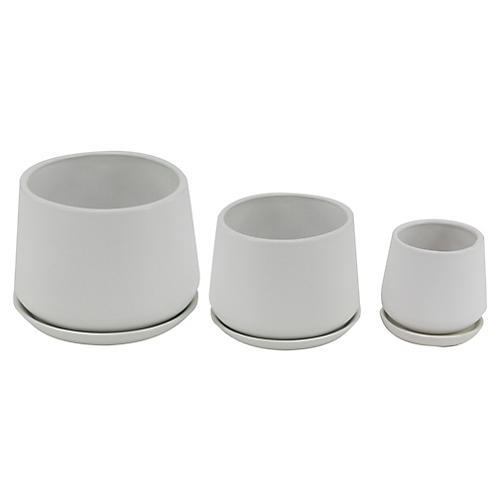 Asst. of 3 Newton Outdoor Planters, White