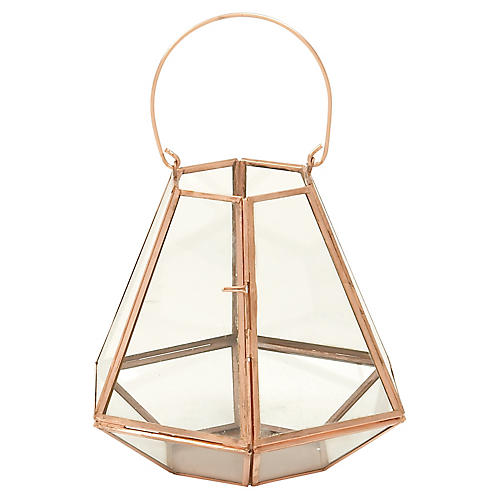 "12"" Hexagonal Lantern Hurricane, Copper"